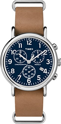 Timex Damen Chronograph Quarz Uhr mit Leder Armband TW2P62300 (Timex Damen-armbanduhr Blau)
