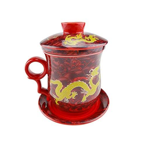 """""""Gelber Drache Muster Chinesische Tee Tasse, Handgemachte Bone China Tee Becher Rot Tee Cup Mit Filter, Deckel Und Untertasse,Für Geschenk Und Haus, Büro 300Ml """""""