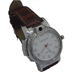 UK A2Z ® Men's Gadget Wrist Watch Cigarette / Cigar Flame Torch Lighter ★ Refillable with Butane Gas ★ Better than a Clipper / Zippo ★ WHITE Dial face
