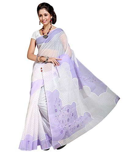 Ishin Poly Cotton White & Purple Printed Women's Saree With Blouse.  available at amazon for Rs.499