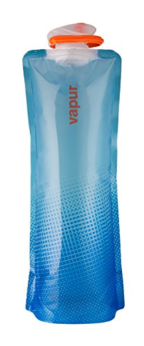 Vapur plegable flexible botella de agua con mosquetón, translúcido azul,...