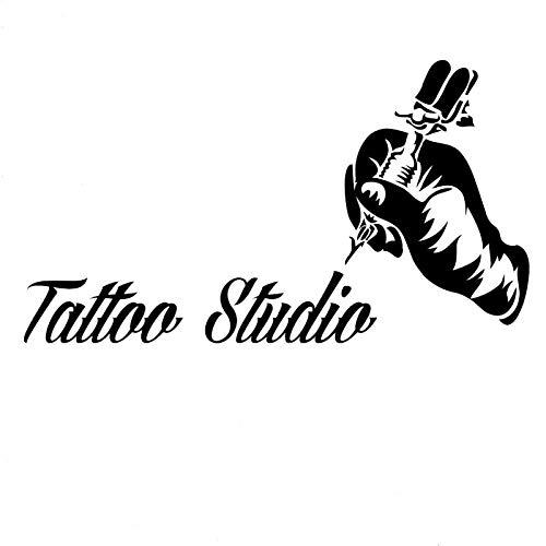 attoos Tattoo Maschine Vinyl Wandaufkleber Für Wand Tattoo Studio Abnehmbare Wandtattoos Studio Logo 56x100 cm ()