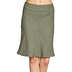 Caspar RO021 Falda Corta de Lino para Mujer/Falda de Verano con Pretina Elástica, Color:Verde Oliva;Tamaño:L/XL