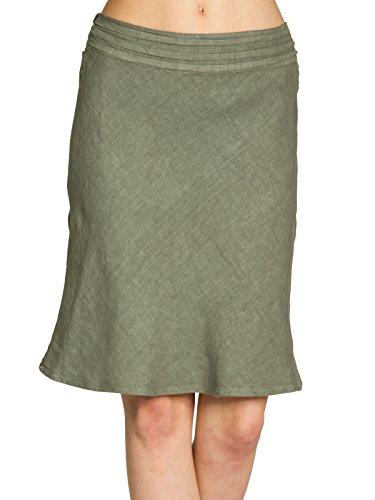 Caspar RO021 Knielanger Eleganter Damen Leinenrock mit figurfreundlichem Stretch Bund, Farbe:Oliv Grün;Größe:S/M (Rock Grünes Leinen)