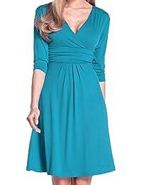 Glamour Empire Femme Robe d'été élégante Manches 3/4 Col V 282