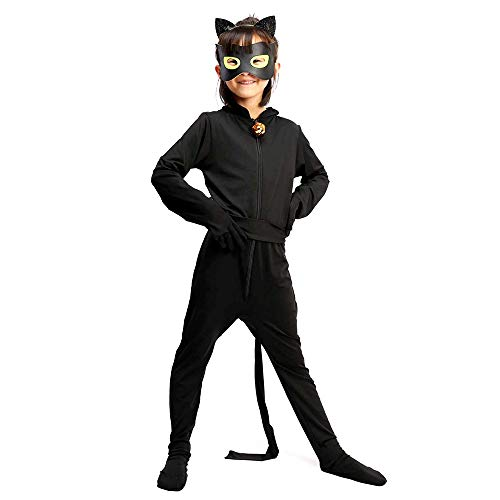 Ganze Referenz Kostüm - albright Cat Noir Kostüm Set, Kinder Cartoon Jumpsuit für Halloween Karneval Weihnachten Cosplay Fasching Party 110/116