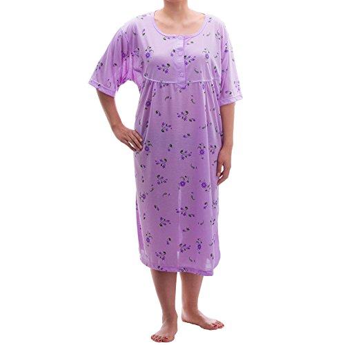 Lucky chemise de nuit à manches courtes imprimé fleurs grandes tailles 3XL - 46–6XL été tons pastels jersey chemise de nuit Violet - Lilas
