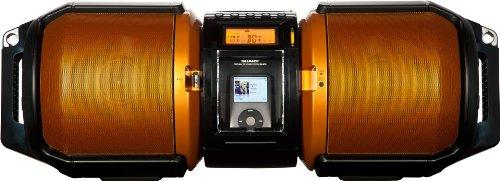 Sharp GX-M10HOR Tragbare Boombox für CD-Player, Apple iPhone/iPod/iPad (100 Watt, USB 2.0) metallic-orange (Cd Boombox Ipod)