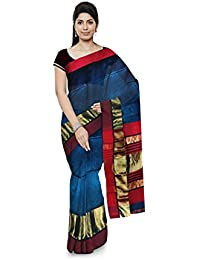Mujaffara Ansari Maheshwar Cotton and Silk Saree (Blue)