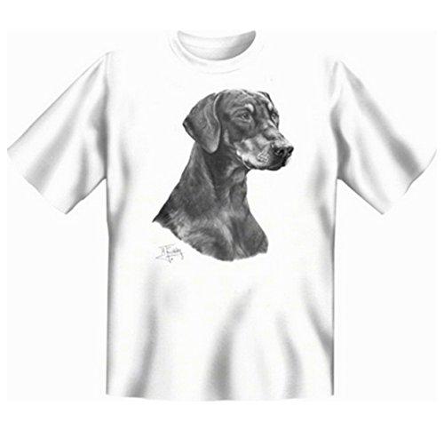 Dobermann T-Shirt Hunde Motiv Fb weiß Weiß