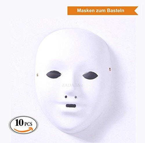 Volle weiße Maske, unbemalt (10 Stück, (Einfach Selbstgemacht Kostüm)