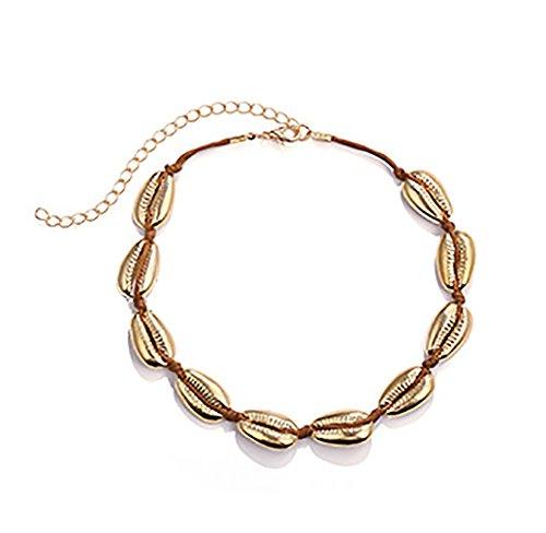 Donne boemia shell string collane catena conchiglia collana collana a forma di conchiglia realizzata in metallo (oro)