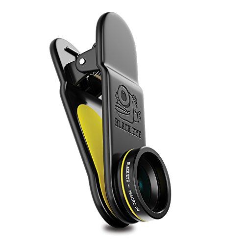 Black Eye Macro G4 15-fache Makro-Objektiv bei einem Abstand von 20 - 26mm, optimiert für neuere Smartphones (Universelle Clip-Befestigung, Doppelseitige Antireflex-Beschichtung, Multicam kompatibel)