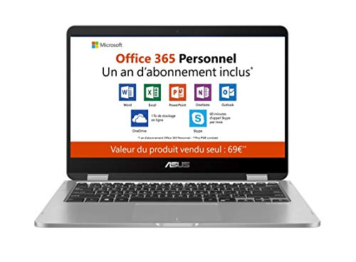 "Asus Vivobook flip TP401MA-EC012TS PC portable 14"" Gris Clair (Intel Pentium, 4 Go de RAM, EMMC 64 Go, Windows 10) Clavier AZERTY Français - Office 365 Personnel inclus - 1 an"