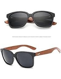 Ducomi Master Classic - Unisex Sonnenbrille Retro Style mit Bambus Wooden Poller - UV400 Schutz (Black, Black)
