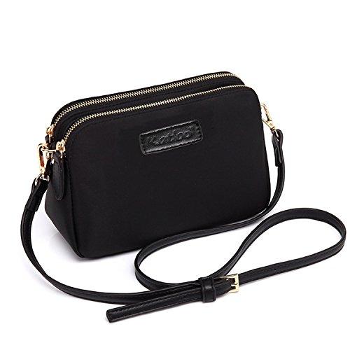 Katloo Damen Umhängetaschen Shopper, Klein Schultertasche Handtasche Frauen Mädchen Teenager Uni Tasche mit Vielen Praktischen Taschen Nylon (Schwarz)