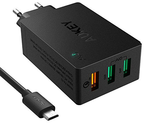 Aukey PA-T2 3 Port USB Wall Charger with Qualcomm Quick Charge 2.0 & Ai Power Smart Charging (Black)