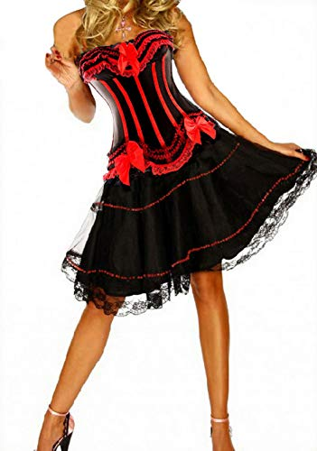 Forever Young Damen Lolita-Kostüm mit Korsettkleid - Moulin Rouge - - Rouge Kostüm