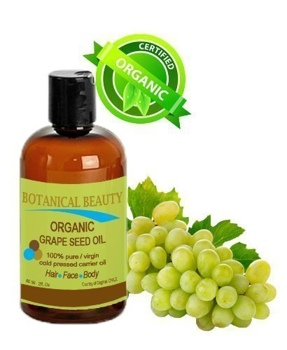 Organic Grape Seed Oil. 100% Pure / Natural / Undiluted / Virgin / Unscented/ Certified Organic/ Cold Pressed Carrier Oil For Skin, Hair, Massage And Nail Care. 2 Fl. oz- 60 ml Botanical Beauty.