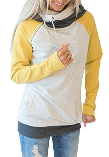 Automne- Hiver Femme Manche Longue Zippé Sweater Multicolore Collure Jumper Hoodie Sweatshirt à Capuche Tops Hauts Jaune