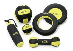 Jouet pour chien AQUA TOY noir/jaune fluo dans 6 Versions - Dummy 25cm