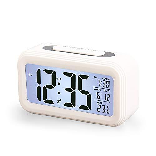Enllonish Smart Digital Wecker Snooze 5 Minuten, Digital-Wecker mit Extra großem Display, Snooze, Datumsanzeige, Temperatur, Reiseuhr für Kinder Studenten und Erwachsene, Weiß