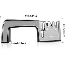 RIVERSONG Afilador de Cuchillos 4 in 1 Multifuncional Doméstico para Cuchillos y Tijeras Hogar Herramientos de Cocina Afilador Manual Buen Asistente para Mamá y Ama de Casa