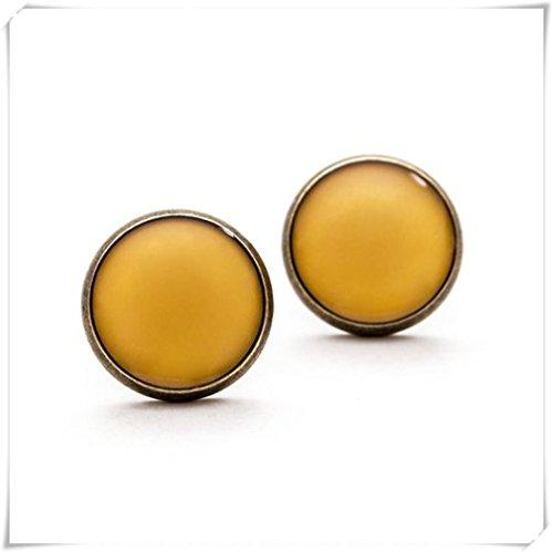 Miele orecchini oro, miele orecchini, oro, gioielli con cupola in vetro, gioielli puro fatto a mano