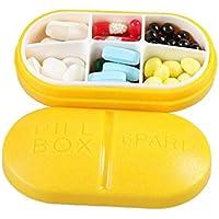 AUFODARA Reise Tragbare Pillendose 6-Fach Tablettenbox (Gelb) preisvergleich bei billige-tabletten.eu