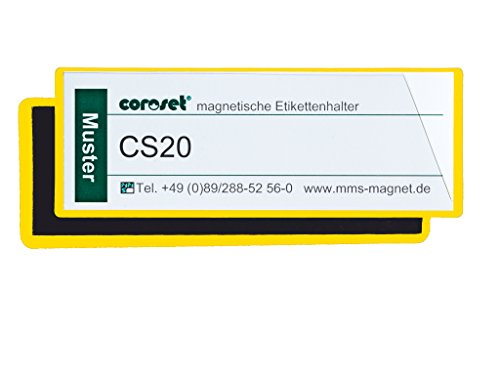 Magnetische Etikettenhalter / Etikettenträger / Etikettenhüllen / Einstecktaschen für Papieretiketten, gelb (50 St., 220 x 81 mm)