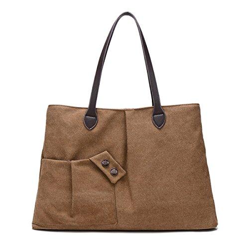Frauen-Segeltuch Handtasche Schultertasche Für Tourismus Einkaufen Multi-Funktions-Speicher Brown