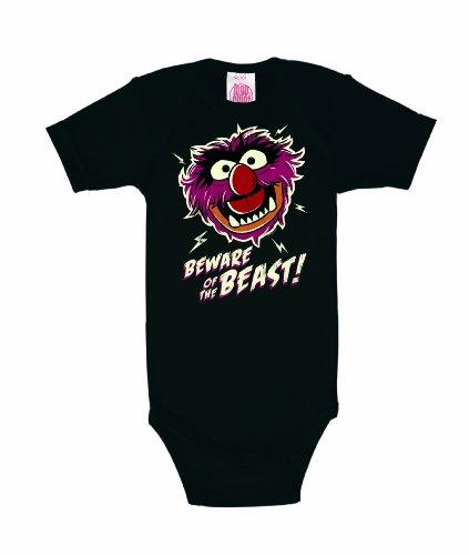 LOGOSHIRT - Das Tier Baby-Body Kurzarm Junge - Muppet Show - Animal - Beware of the Beast Baby Strampler - schwarz - Lizenziertes Originaldesign, Größe 98/104, 2-4 (Muppets Tier Kostüm)