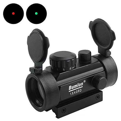Bumlon Red Green Dot Sight Rifle Scope Reflex Holographic Optics Tactical Fits 11mm/ 20mm Rail with Flip up (Reflex Ar15)