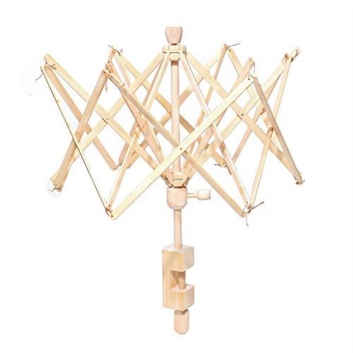 Regenschirm Swift Garn Winder, Holz (Birke) Hand Operated Bobbin Winder Halter Stricken Werkzeug für Wolle-Saite 1Pack