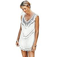 CUPSHE Women's White Crochet Sleeveless Tunic V Neck Cover Up