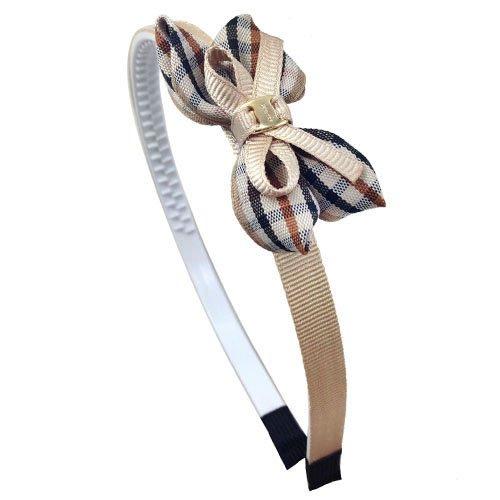 Righe e Pois 39-802 Serre-tête de 1 cm de large dentelé au dos, avec structure revêtue de tissu cannelé et double nœud écossais de 6 cm, parfait pour fillette Noisette