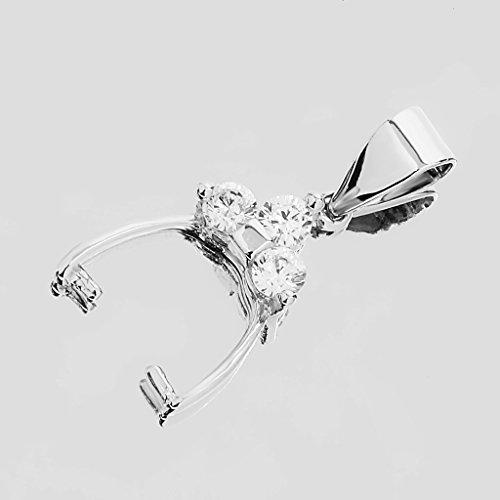 Alliage Fermoir Pincé Connecteur Attache Porte-breloque Pendentif Décoré avec Strass pour Bijou DIY Argent 24 * 13 * 4mm