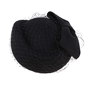 Baoblaze Pillbox Hut Hochzeit Hut Mit Schleier Vintage Bow Fascinator Hüte Für Frauen