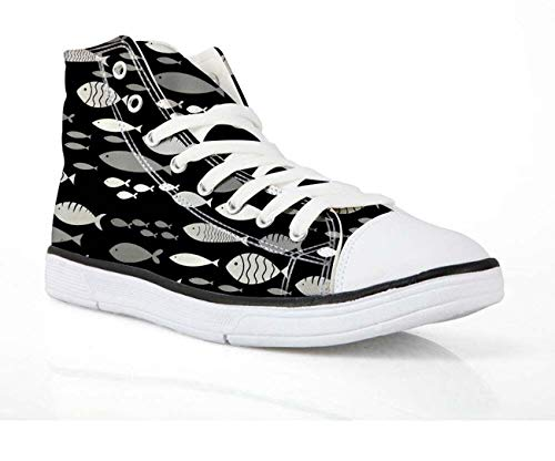 Fashion Hi Tops Sneakers Women Lace Up Walking Trainers Canvas Shoes for Girls Black-Fish UK 4