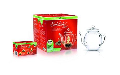 Creano Teeblumen BIO im Geschenkset, 4 Teeblumen in verschiedenen Sorten und Glasteekanne 500ml, Weißer Tee Zinn Geschenk-set