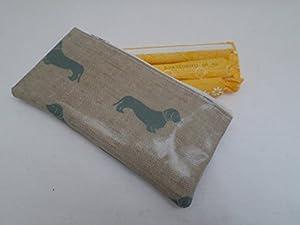 Handmade Oilcloth Tampon Case Holder - Emily Bond Blue Dachshund Fabric
