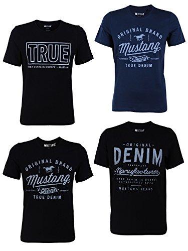 MUSTANG 4er Pack Herren T-Shirt mit Frontprint und Rundhalsausschnitt - Motivmix, Größe:XL, Farbe:Farbmix (P5)