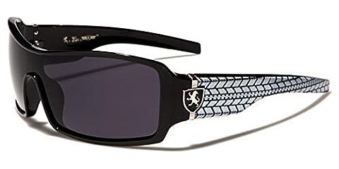 Khan men's rectangle sunglasses dark lens Sport Bikers Riders Full UV400 Protection Free BeachHutSunglasses pouch included (BLACK FRAME/WHITE/SMOKE