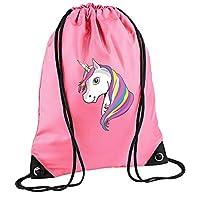 laylawson Unicorn Drawstring Gym Bag Girls Kids (One Size, True Pink)