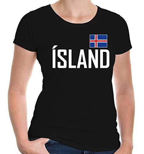 buXsbaum Damen Girlie T-Shirt Island | Iceland Islande Islandia Islanda Europa Ländershirt Trikot Reise | L, Schwarz