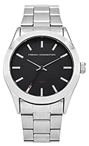 FRENCH CONNECTION Men's SFC109BSM Quartz Watch with Black Dial Analogue Display and Stainless Steel Bracelet