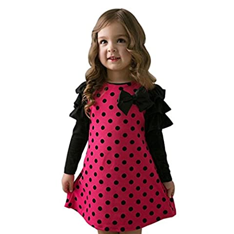 Longra Kinder Mädchen Herbst Kleidung Dot Bogen Prinzessin Mädchen Kleid Sundress Kinder Hochzeit Ballkleid Festkleid Partykleider(2-7 Jahre) (120CM 5Jahre, Hot Pink)