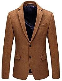 HX fashion Blazer da Uomo Giacca da Lavoro di Lana Giacca Taglie Comode  Corta da Lavoro 00d9828e22f