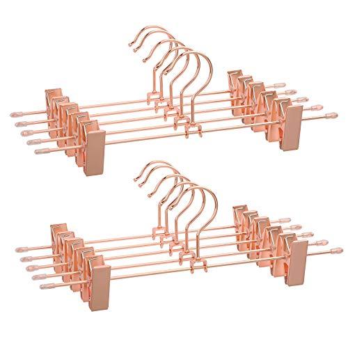 SONGMICS Hosenbügel Metall Kleiderbügel Roségold, 31 cm, 2 rutschfesten Clips für Röcke, Hosen, Unterwäsche, stabile Bügel, platzsparend, rostfrei, um 360° drehbar, 10 Stück CRI46R-10 -