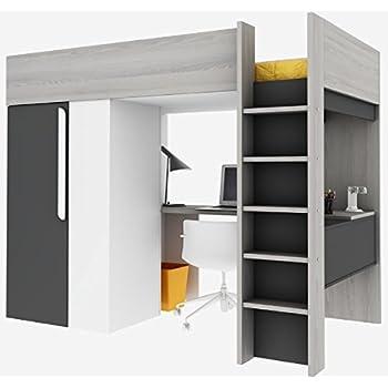 thuka hochbett 90x200 bett weiss inkl matratze grau und. Black Bedroom Furniture Sets. Home Design Ideas